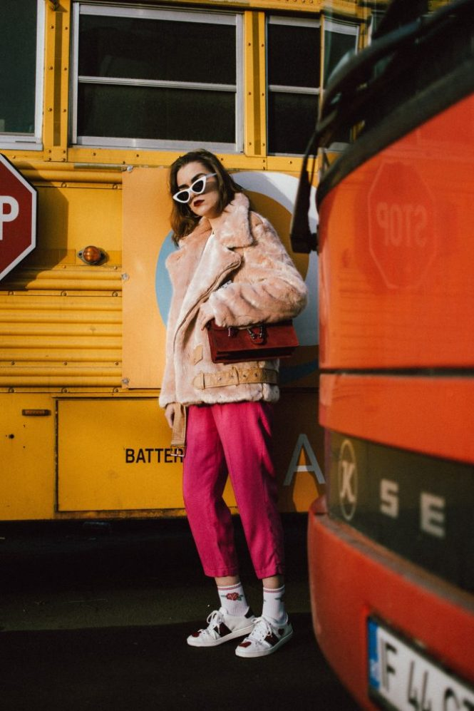 Boohoo pink faux fur aviator jacket, aviator teddy bear jacket, cutest jacket for winter, chic and warm winter jackets,zara hot pink tailored cropped trousers, gucci ace heart embroidered white leather sneakers, gucci red suede dionysus shoulder bag, gucci lookalike bag, dupe, white cat eye sunglasses, andreea birsan, couturezilla, cute winter outfit ideas 2018, how to wear pink in winter, white t-shirt, white tee, cotton, rose socks forever21, gold hoop earrings, the best earrings from instagram, how to wear cat eye sunglasses, how to look cool in winter, cool winter outfit ideas, faux fur jackets, pink pants, gucci gang, how to look Parisian chic, European summer street style inspiration for women 2017, pinterest chic outfit ideas for woman, summer outfit ideas, summer ootd inspiration, outfit of the day, ootd, fashion icon, style inspiration, fashionista, fashion inspiration, style inspo, what to wear in summer, how to look French, chic on a budget, zara outfit, mango, topshop, asos, river island, forever 21, urban outfitters, how to mix high end pieces with luxury ones, zara and Gucci,outfit alternatives for summer, tomboy chic, minimal outfit, tumblr girls photos, pictures, happy girl, women, smart casual outfits, the best outfit ideas 2017, what to wear when you don't feel inspired, summer in Europe, weekend attire, uniform, French women in summer, European outfit ideas 2017, minimal chic outfit, how to stand out, the best outfit ideas for summer, the sunglasses you have seen everywhere on Instagram, glasses, uk fashion blogger, united kingdom, uk fashion blog, fashion and travel blog, Europe, women with style, street style, summer fashion trends 2017, best fashion ideas, styling, fall fashion, fall outfit, fall ootd, fall perfect, transitional dressing, best transitional outfit ideas, how to wear statement earrings, dressing for autumn, autumn outfit, winter outfit ideas for work and school 2017