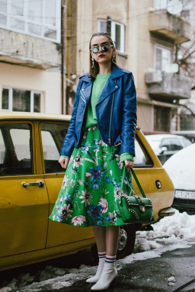 Blue leather jacket, green floral midi dress, sweater, dior sunglasses, prada studded bag, white ankle boots, andreea birsan, couturezilla, cute spring outfit ideas for 2018, green and blue spring outfit ideas for work and shcool, cobalt blue genuine leather biker jacket, patterned midi dress in green, spring midi dress, green midi dress with floral prints, florals for spring, how to wear the floral trend this spring, how to layer a sweater on a dress, sweater on top of dress, sweater and dress outfit winter, how to wear white shoes, white leather ankle boots, what to wear with white ankle boots, what to wear with white shoes, green prada saffiano leather bag with studs and stones, prada bag in green, shoulder prada bag, statement earrings with rhinestones, christian dior so real 50 mm mirrored sunglasses, dior sunglasses, dior so real, mirrored sunnies, 90s inspired socks, wet hair look, green and blue, how to look Parisian chic, European summer street style inspiration for women 2017, pinterest chic outfit ideas for woman, summer outfit ideas, summer ootd inspiration, outfit of the day, ootd, fashion icon, style inspiration, fashionista, fashion inspiration, style inspo, what to wear in summer, how to look French, chic on a budget, zara outfit, mango, topshop, asos, river island, forever 21, urban outfitters, how to mix high end pieces with luxury ones, zara and Gucci,outfit alternatives for summer, tomboy chic, minimal outfit, tumblr girls photos, pictures, happy girl, women, smart casual outfits, the best outfit ideas 2017, what to wear when you don't feel inspired, summer in Europe, weekend attire, uniform, French women in summer, European outfit ideas 2017, minimal chic outfit, how to stand out, the best outfit ideas for summer, the sunglasses you have seen everywhere on Instagram, glasses, uk fashion blogger, united kingdom, uk fashion blog, fashion and travel blog, Europe, women with style, street style, summer fashion trends 2017, best fashion ideas, styling, fall fashion, fall outfit, fall ootd, fall perfect, transitional dressing, best transitional outfit ideas, how to wear statement earrings, dressing for autumn, autumn outfit, winter outfit ideas for work and school 2017