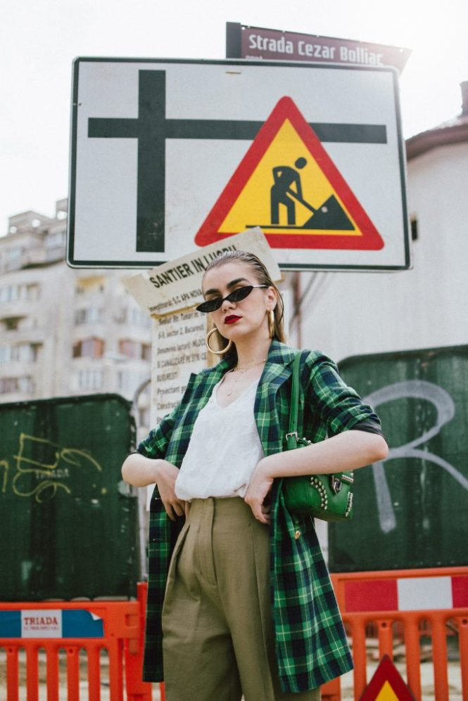 Boohoo checked double breasted blazer, khaki peg trousers, white cami, check blazer, prada green bag, micro sunglasses, chunky sneakers, andreea birsan, couturezilla, cute spring outfit ideas for 2018, asos small cat eye sunglasses, retro sunglasses, matrix inspired sunglasses trend, sunnies, check printed blazer, blazer dress, blazer for women, best blazer for work, khaki trousers, high waisted khaki trousers, green pants, khaki pants, how to wear peg trousers, how to wear peg trousers with a long blazer, big gold hoop earrings, layered necklaces, gold accessories, prada green bag, green prada bag with studs and stones, green prada shoulder bag, micro sunnies, white camisole top, massimo dutti white top, tank top, white cami with flowers, how to layer for spring, trainers, chunky trainers trend, balenciaga triple s, balenciaga triple s dupes, balenciaga triple s sneakers alternative, budget friendly alternative to the balenciaga sneakers, dad sneakers, the ugly sneakers trend, chunky trainers, how to look Parisian chic, European summer street style inspiration for women 2017, pinterest chic outfit ideas for woman, summer outfit ideas, summer ootd inspiration, outfit of the day, ootd, fashion icon, style inspiration, fashionista, fashion inspiration, style inspo, what to wear in summer, how to look French, chic on a budget, zara outfit, mango, topshop, asos, river island, forever 21, urban outfitters, how to mix high end pieces with luxury ones, zara and Gucci,outfit alternatives for summer, tomboy chic, minimal outfit, tumblr girls photos, pictures, happy girl, women, smart casual outfits, the best outfit ideas 2017, what to wear when you don't feel inspired, summer in Europe, weekend attire, uniform, French women in summer, European outfit ideas 2017, minimal chic outfit, how to stand out, the best outfit ideas for summer, the sunglasses you have seen everywhere on Instagram, glasses, uk fashion blogger, united kingdom, uk fashion blog, fashion and travel blog, Eu