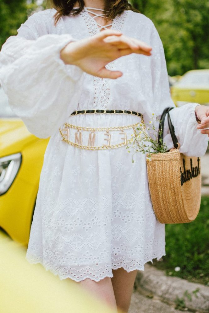 Na-kd mini white crochet dress, chunky trainers, wanderlust straw bag, chain belt, aviator glasses, andreea birsan, couturezilla, cute summer outfit ideas 2018, how to wear a girly dress with sneakers, girly dress and dad sneakers, the ugly sneakers trend, how to wear the ugly balenciaga triple s sneakers, balenciaga inspired triple s sneakers, where to find the best high street alternative to the balenciaga ugly sneakers, dad trainers trend, white sneakers, shoes that go well with everything, mini white crochet dress, white dress and white sneakers, mini dress, how to wear a mini dress without looking vulgar, feminine dresses, lace up detail white dress, zara clear lens aviator glasses, the clear lens glasses trend, how to wear the geeky glasses you keep seeing all over instagram, how to wear the ugly sneakers you keep seeing online, the chain belt trend, vintage looking chain belt, what belts to wear this summer, now trending chain belts, la femme belt, feminist, straw basket bag, handmade bag, wanderlust bag, the best summer bags, bag with wooden handle, thailand handmade bag, boho peach straw bag, raffia bag, chic bags for summer, wicker bag, basket bag, chunky white sneakers, how to look Parisian chic, European summer street style inspiration for women 2017, pinterest chic outfit ideas for woman, summer outfit ideas, summer ootd inspiration, outfit of the day, ootd, fashion icon, style inspiration, fashionista, fashion inspiration, style inspo, what to wear in summer, how to look French, chic on a budget, zara outfit, mango, topshop, asos, river island, forever 21, urban outfitters, how to mix high end pieces with luxury ones, zara and Gucci,outfit alternatives for summer, tomboy chic, minimal outfit, tumblr girls photos, pictures, happy girl, women, smart casual outfits, the best outfit ideas 2017, what to wear when you don't feel inspired, summer in Europe, weekend attire, uniform, French women in summer, European outfit ideas 2017, minimal chic outfit, how t
