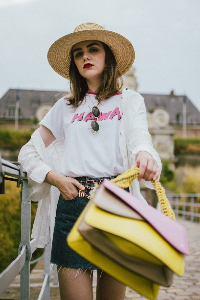 Levis mini denim skirt, pink gucci loafers, linen shirt, tshirt, colorblock bag, andreea birsan, couturezilla, cute summer outfit ideas 2018, the best denim mini skirt, printed t-shirt, white tee, organic cotton t-shirt, graphic t-shirt, colorful t-shirt, hawaii tee, isla fontaine color block bag, yellow and pink shoulder leather bag, the best leather bag, shoulder bag, italian leather, isla fontaine bags, how to wear a colorblock bag, unique bag strap, what to wear with a denim mini skirt, how not to look like a teenager in a mini skirt, pink gucci loafers, how to wear pink shoes, patent leather pink gucci shoes, pink gucci mules, classic mocassaini shoes, la femme gold chain belt, the sold out asos chain belt, budget friendly alternatives to the chanel chain belt, gold accessories, white button down oversized linen shirt, linen shirt, boyfriend linen shirt, summer layers, how to layer in summer, summers in europe, lille france, what to wear on an european vacation, denim minis, levis denim, live in denim, levis straus, levi's skirt, raw hem mini skirt, skirt that fits like a glove, how to look Parisian chic, European summer street style inspiration for women 2017, pinterest chic outfit ideas for woman, summer outfit ideas, summer ootd inspiration, outfit of the day, ootd, fashion icon, style inspiration, fashionista, fashion inspiration, style inspo, what to wear in summer, how to look French, chic on a budget, zara outfit, mango, topshop, asos, river island, forever 21, urban outfitters, how to mix high end pieces with luxury ones, zara and Gucci,outfit alternatives for summer, tomboy chic, minimal outfit, tumblr girls photos, pictures, happy girl, women, smart casual outfits, the best outfit ideas 2017, what to wear when you don't feel inspired, summer in Europe, weekend attire, uniform, French women in summer, European outfit ideas 2017, minimal chic outfit, how to stand out, the best outfit ideas for summer, the sunglasses you have seen everywhere on Instagram, glasses, uk fashion blogger, united kingdom, uk fashion blog, fashion and travel blog, Europe, women with style, street style, summer fashion trends 2017, best fashion ideas, styling, fall fashion, fall outfit, fall ootd, fall perfect, transitional dressing, best transitional outfit ideas, how to wear statement earrings, dressing for autumn, autumn outfit, winter outfit ideas for work and school 2017