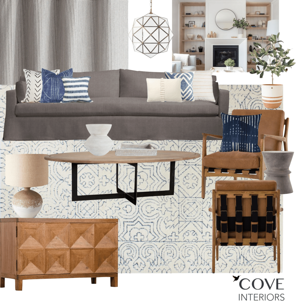 cove interiors JG living room design board
