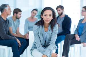 Woman at a drug addiction therapy session