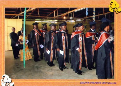 The graduates marching into the church