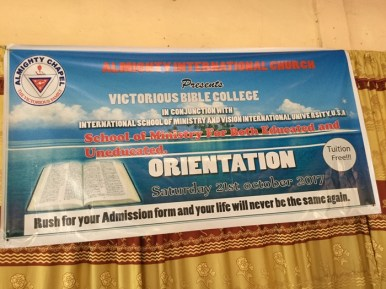 The banner advertising the school