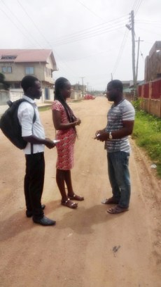 Team witnessing to a man on the road