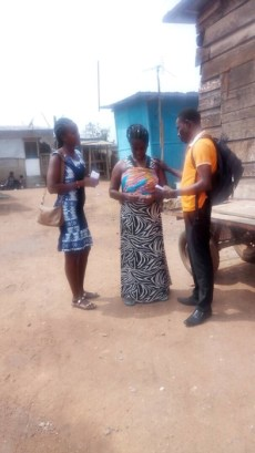 Team witnessing to a woman on the road