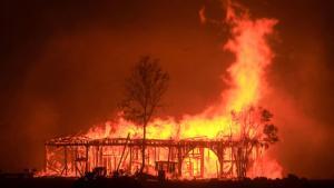 California Wildfire Destroys Home