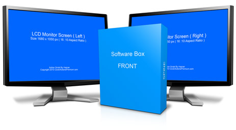 Lcd Monitors Software Box Combo Mock Up Cover Actions Premium