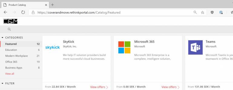 I Cover and Move AB:s webbshop erbjuds allt från Teams och Office 365 till AWS och Google Cloud.