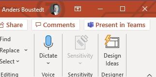 Bild som visar knappen för att starta presentation från PowerPoint.