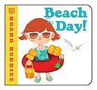 Beach Day! Baord Buddies. Child in swim suit wearing floating tube and holding a pail and shovel.