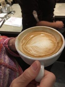 Even as you drink it down, the pattern in the flat white remains!