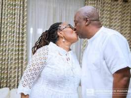 Mrs Lordina Mahama and John Dramani Mahama kissing