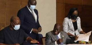 John Dramani Mahama and Akufo-Addo signing Peace Pact ahead of 2020 Elections