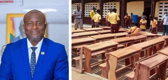 Daniel Nii Kwartei Titus Glover supports Schools with dual desks