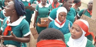 Nursing trainees protesting