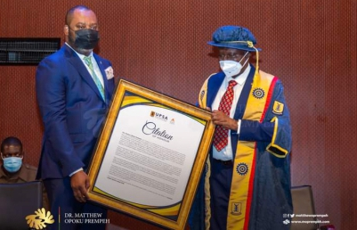 UPSA awards Dr. Mathew Opoku Prempeh with Honourary Doctor of Humane Letters for his work as Education Minister