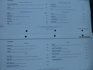 Room service menu