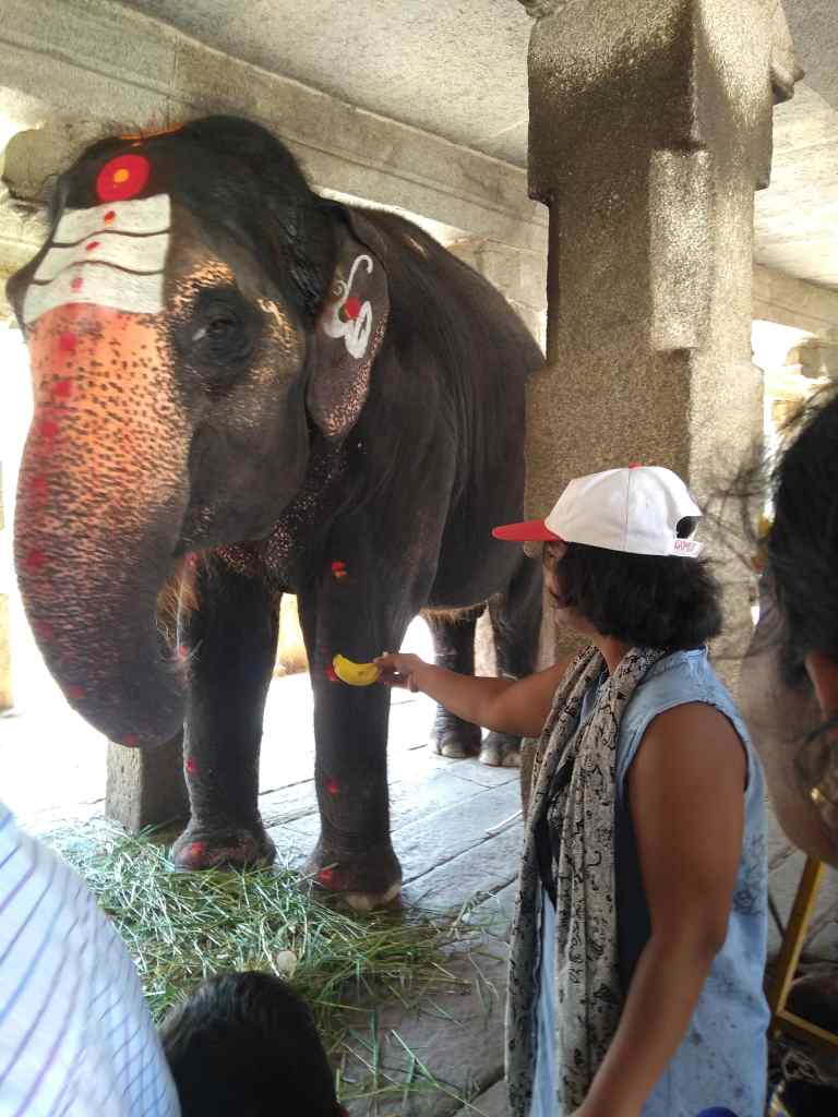 Feeding Lakshmi at Virupaksha Temple
