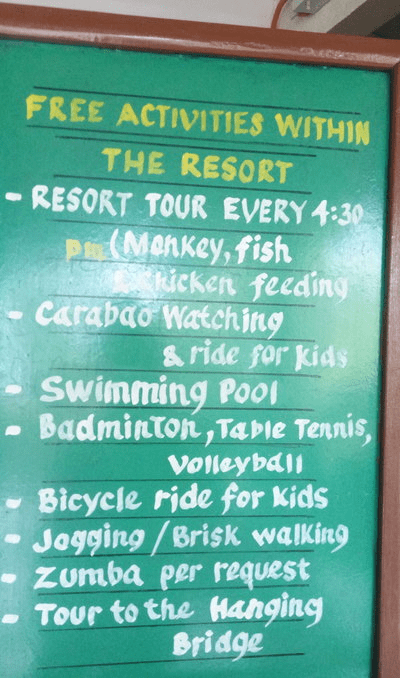 Free activities at Loboc River resort, Bohol