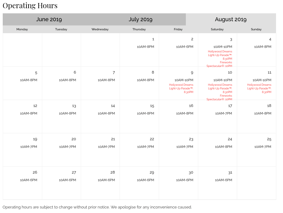 USS Operating hours - August 2019