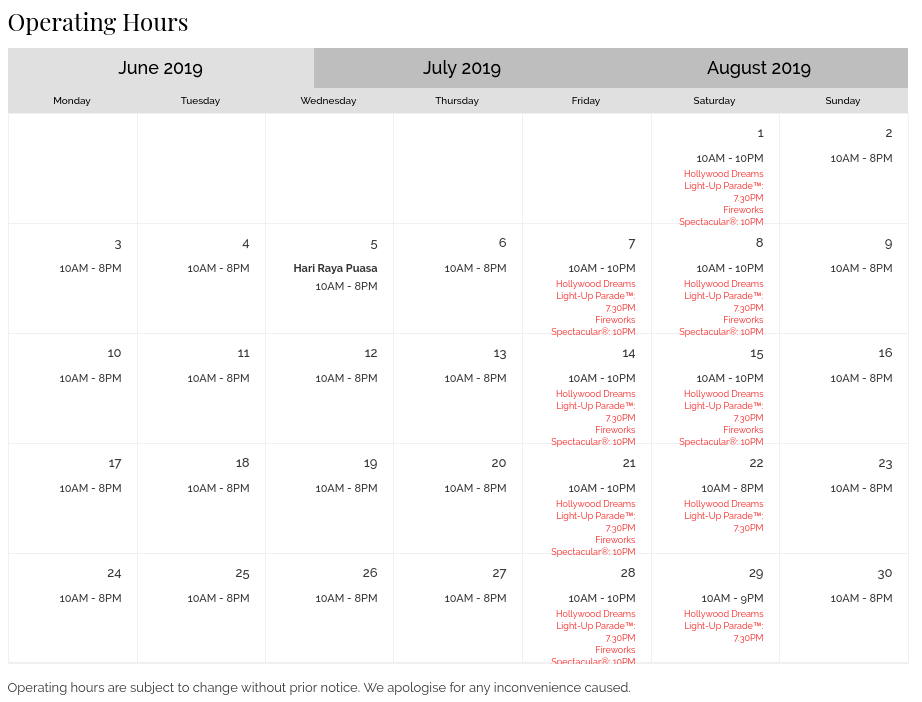 USS Operating hours - June 2019