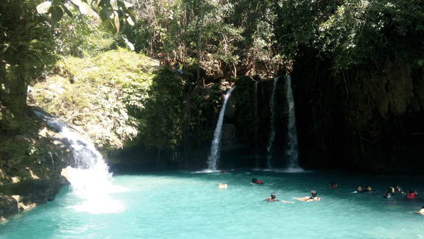 Kawasan Falls Level 2. The cliff is is used for canyoneering.