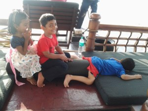 Kids having fun in the houseboat