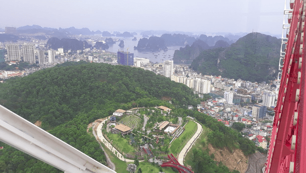 View of Halong Bay from the cable car on a clear day