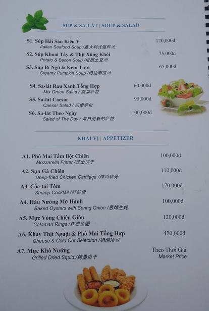 Sandy Bar Tuan Chau island Vietnam menu