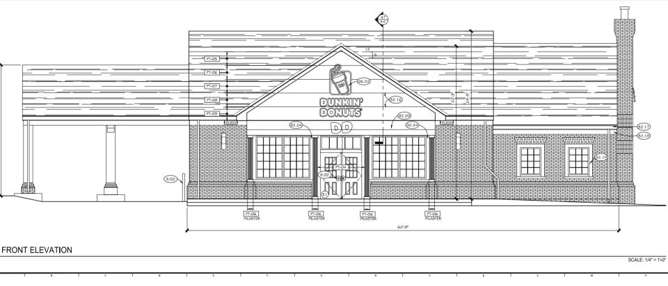 Drawing of Dunkin' Donuts from the front.