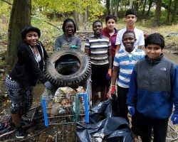 Children with collected trash