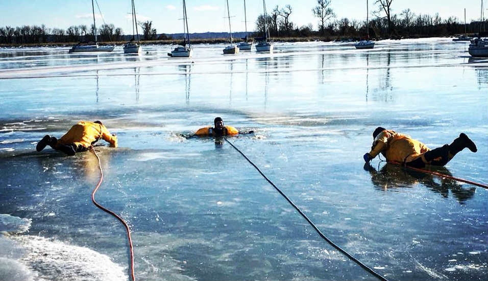 Firefighters on ice