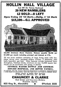 Newspaper ad for Hollin Hall houses