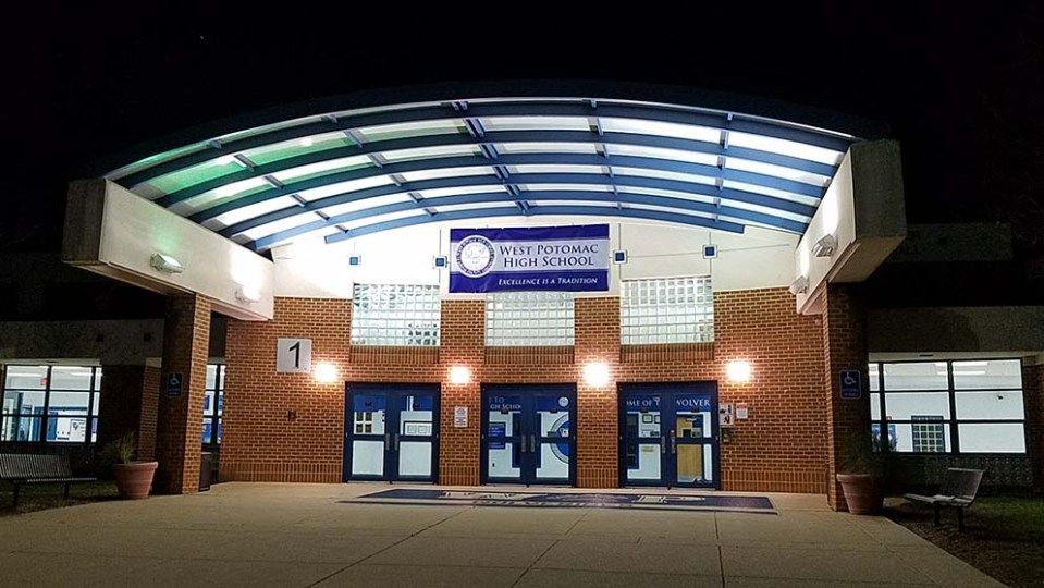 Entrance of school seen at night