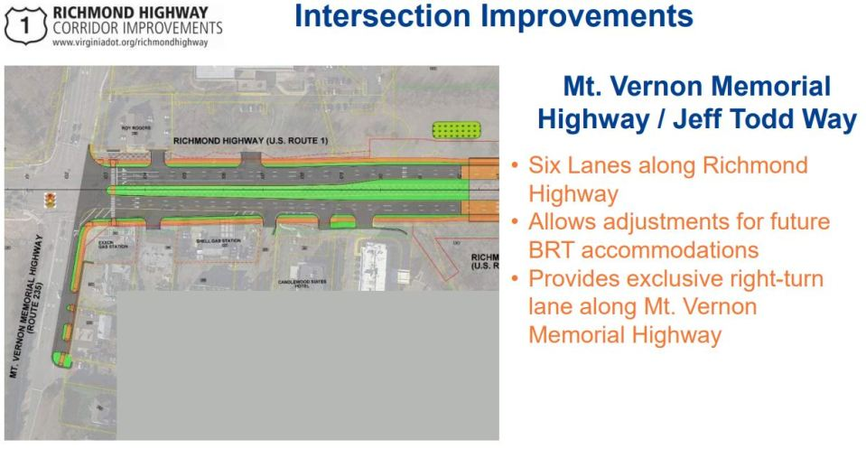 Slide showing intersection improvements at Mount Vernon Memorial Highway and Jeff Todd Way