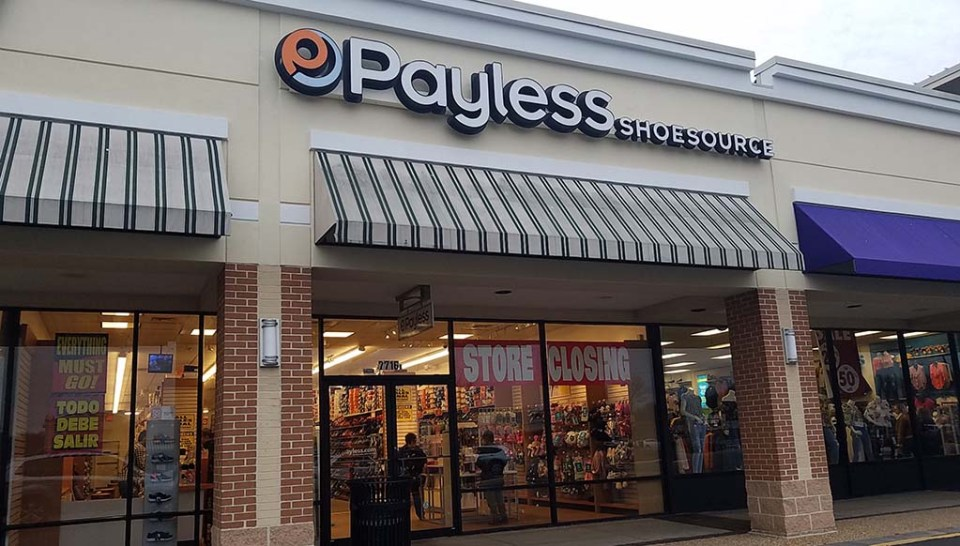 Exterior of Payless store at Mount Vernon Plaza