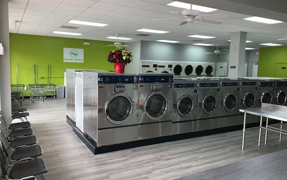 Washing machines inside the laundromat