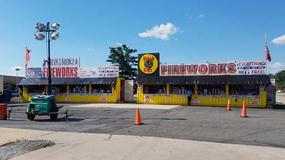 Two fireworks stands at the Mount Vernon Crossing shopping center.