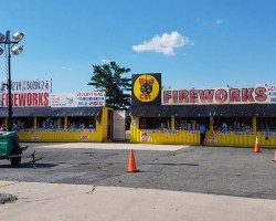 Fireworks stands in the Mount Vernon Crossroads shopping center