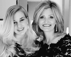 Mother and daughter black-and-white image