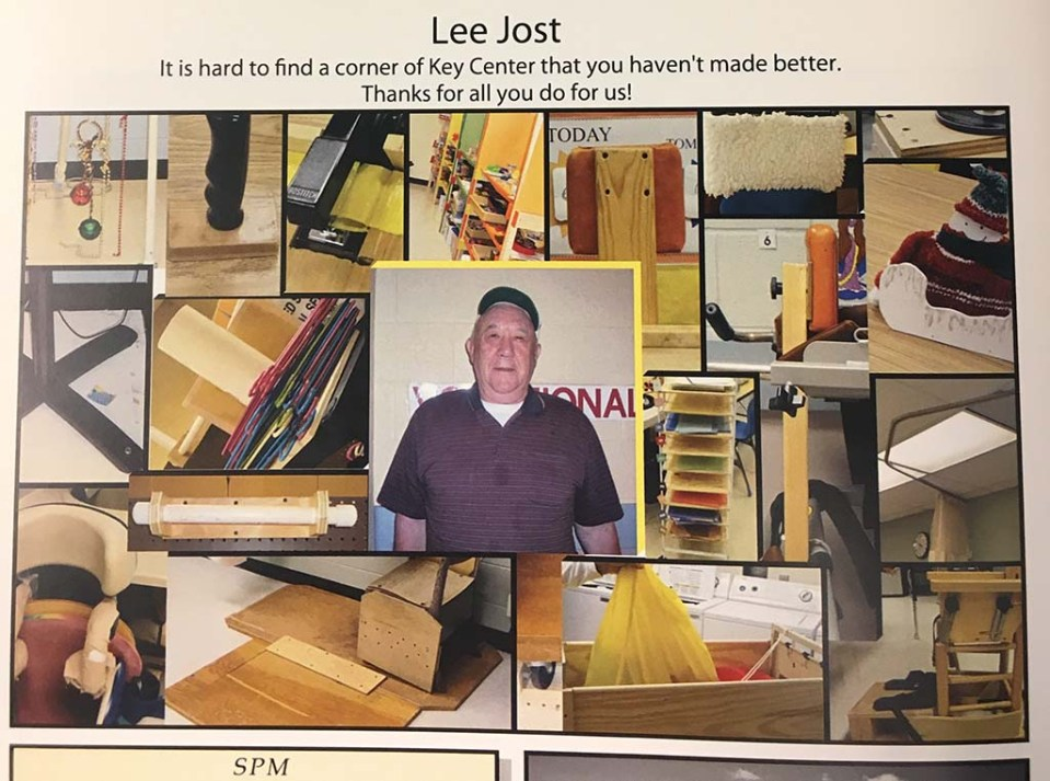 Jost in a collage of images showing items he's made