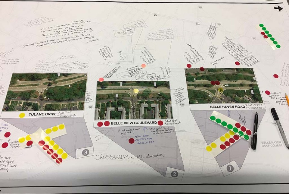 Board showing dangerous intersections on Parkway, with written suggestions on it