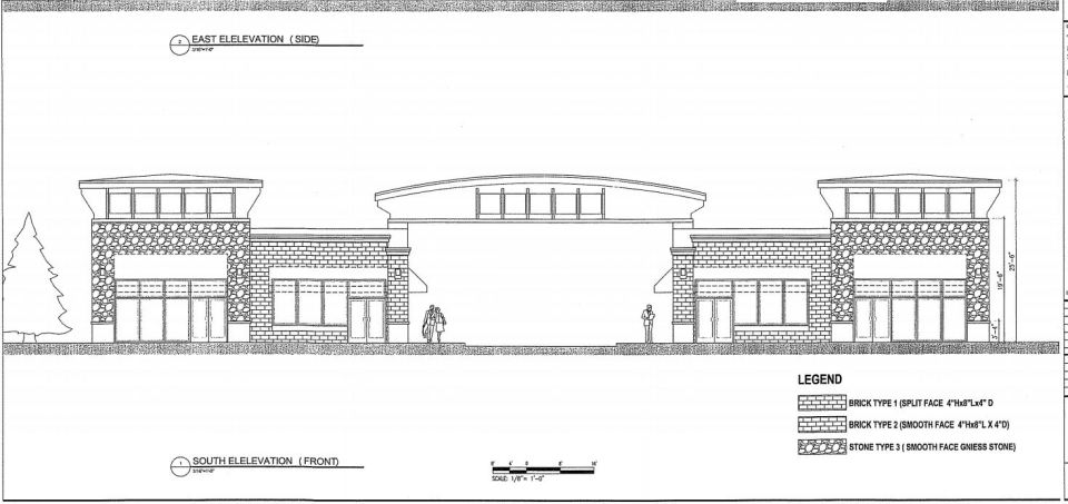 A drawing of the shopping center
