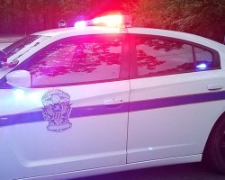 Park Police car with lights on