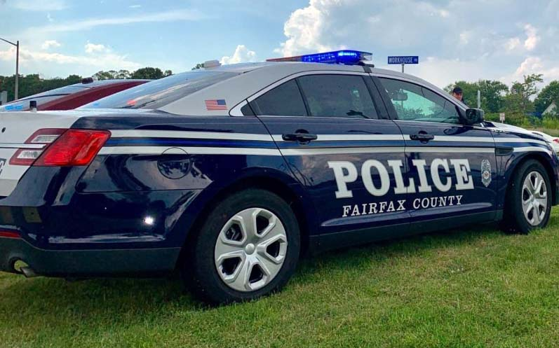 Police car parked on the grass
