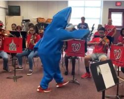 Person in shark suit conducting orchestra