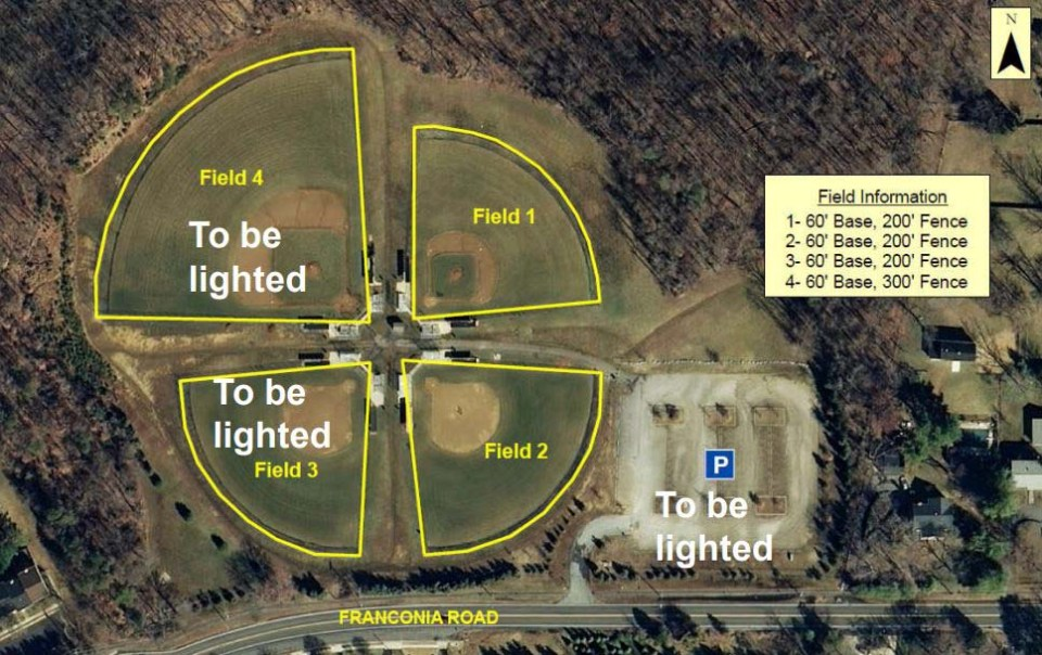 An overhead view of the fields, with markings showing which will be lighted