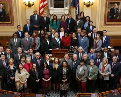 Group picture of Democratic caucus on floor of House of Delegates